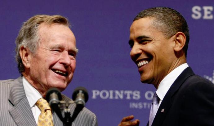 ג'ורג בוש האב וברק אובמה