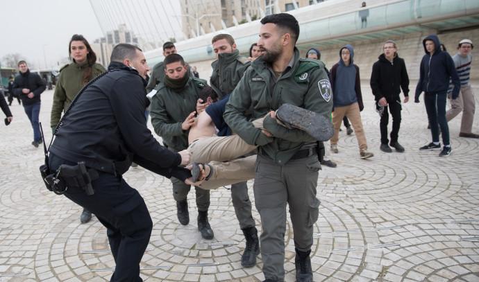 מעצר פעילי ימין בהפגנה