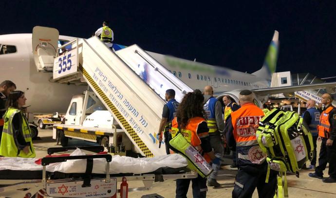 מטוס עם פצועים נוחת בארץ