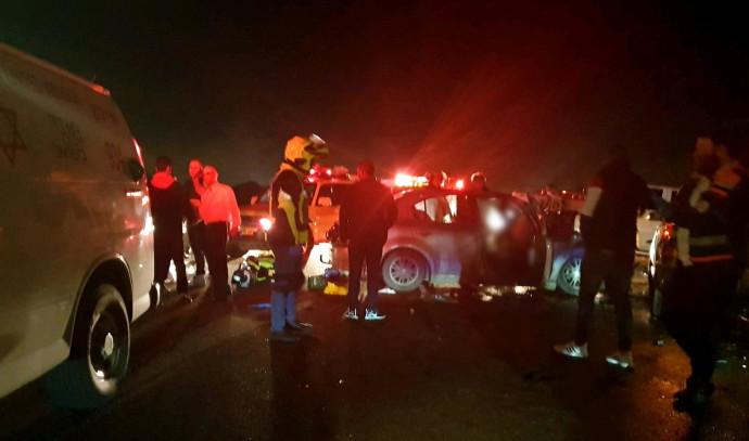 זירת התאונה בכביש 44