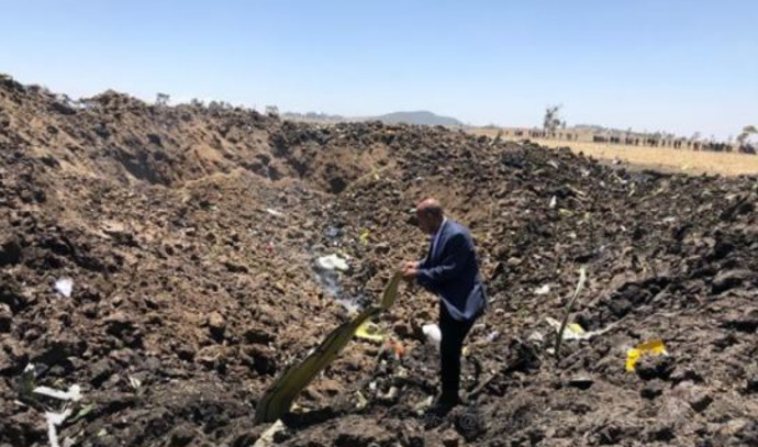 """מנכ""""ל חברת 'אתיופיאן איירלנס' בזירת ההתרסקות"""