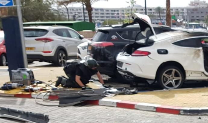 פיצוץ הרכב באילת, צילום: דוברות המשטרה