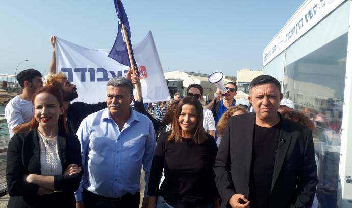 בכירי מפלגת העבודה בנמל תל אביב