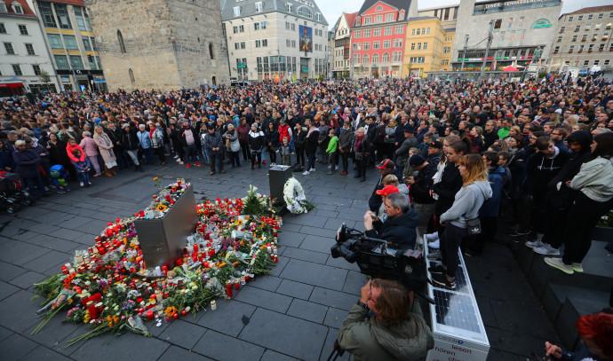טקס זיכרון בעיר האלה לנרצחים בפיגוע