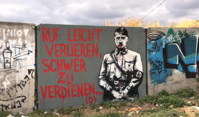 גרפיטי של היטלר רוסס סמוך לקבר רבי נחמן באומן
