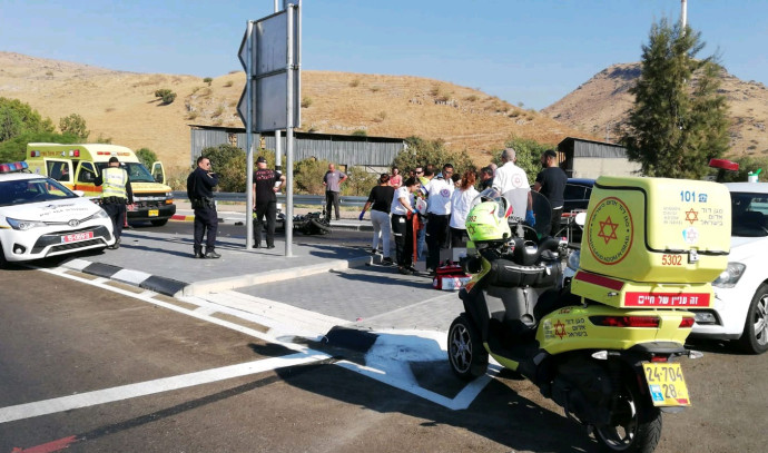 זירת התאונה בכביש 92