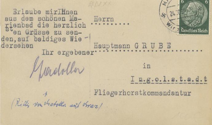 גב הגלויה עם חותמת דואר נאצית
