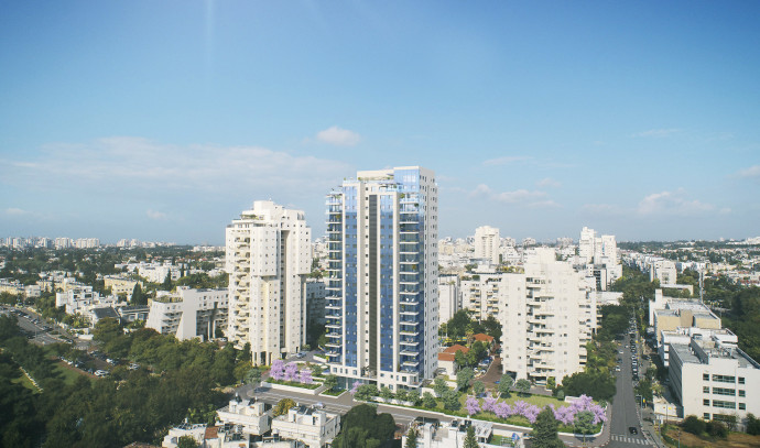הדמיה של פרויקט מגורים באמצעות קבוצת רכישה של חברת סופרין בנאות אפקה תל אביב
