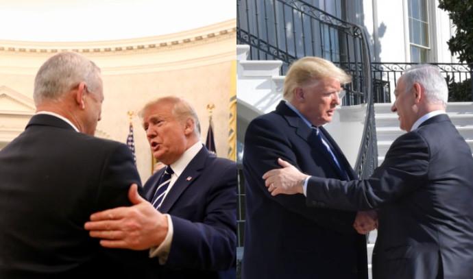 טראמפ עם נתניהו וגנץ