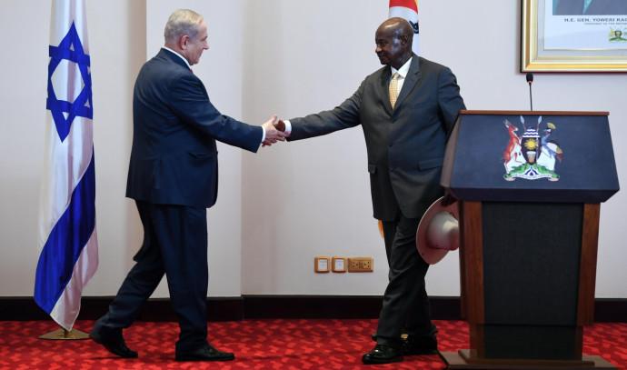 בנימין נתניהו עם נשיא אוגנדה