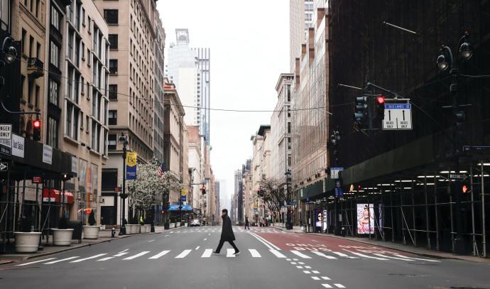 רחובות מנהטן ריקים מאדם בעקבות התפשטות הקורונה