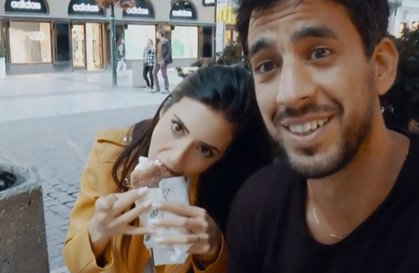 כבר לא בפראג. יוגב אלקיים ובת אל לוי (צילום מסך)