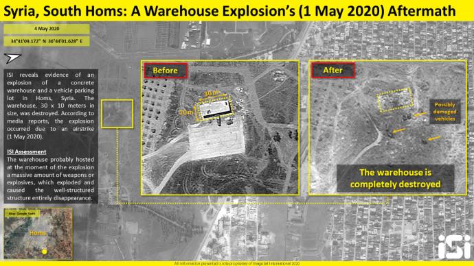 תוצאות התקיפה שיוחסה לישראל בסוריה. צילום: (ImageSat International (ISI,ISI