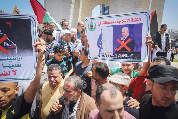 הפגנה ברצועת עזה נגד הסיפוח. צילום: עבד ראחים חטיב, פלאש 90