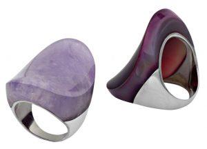 טבעת כסף בשיבוץ אבני אמטיסט