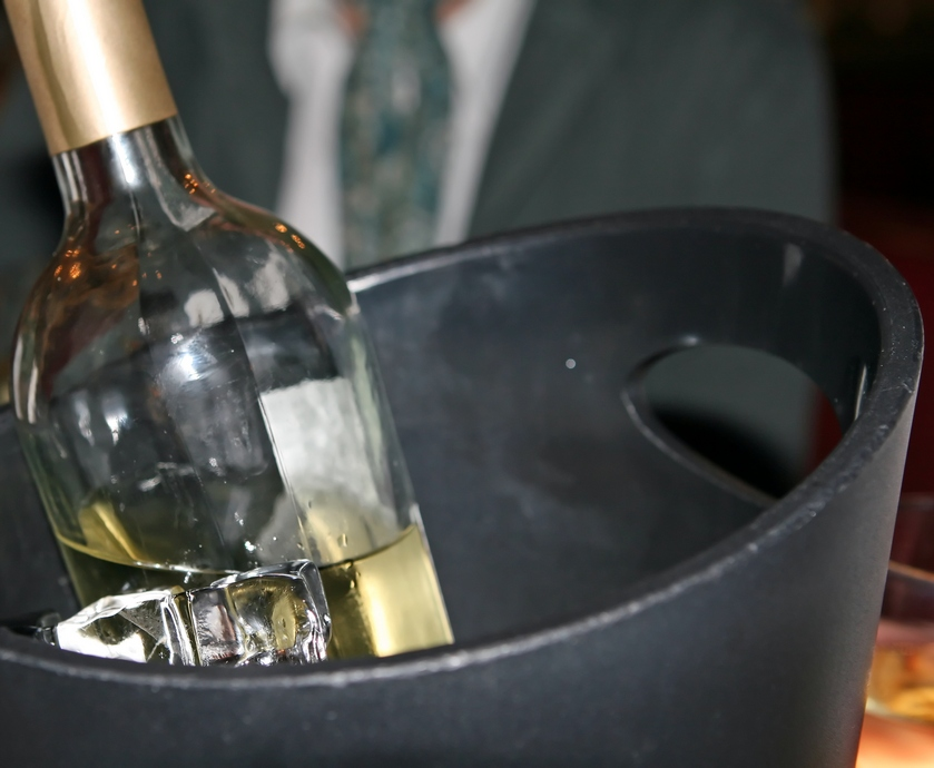 White wine bottle in an ice bucket